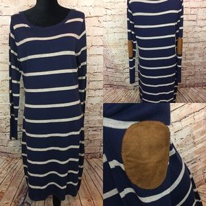 LIV Sweater Dress Striped Elbow Patches Navy Blue